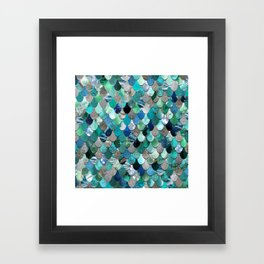 Mermaid Sea, Teal, Aqua, Silver, Grey Framed Art Print