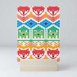 Winter and Christmas Pattern with Animals and Cute Monsters Mini Art Print