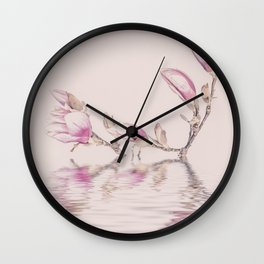 Soft Pink Magnolia Flowers And Water Reflection Wall Clock