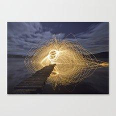 Fire Spinning on Loch Ard Canvas Print