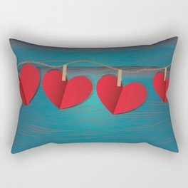 Red paper hearts tie to a rope Rectangular Pillow