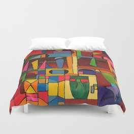 Colors In Collision 1 - Geometric Abstract of Colors that Clash Duvet Cover