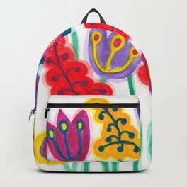 raw flower garden with tulips Backpack