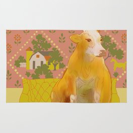 Farm Animals in Chairs #1 Cow Rug