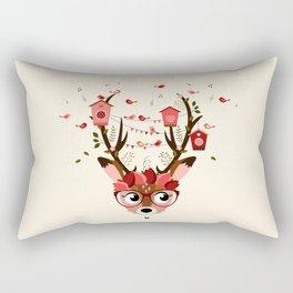 Biche et cabanes à oiseaux (rose) Rectangular Pillow
