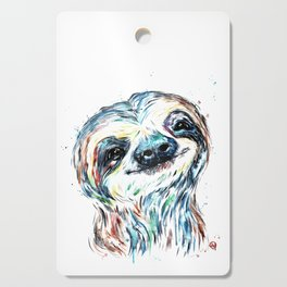 Smiling sloth baby colorful watercolor painting Cutting Board