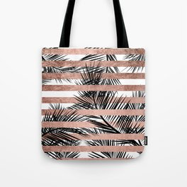 Trendy tropical palm trees chic rose gold stripes Tote Bag