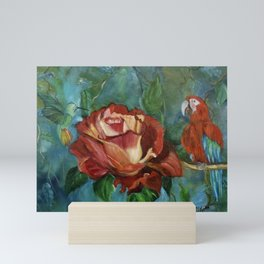 Red Macaw at the Tea Party Mini Art Print