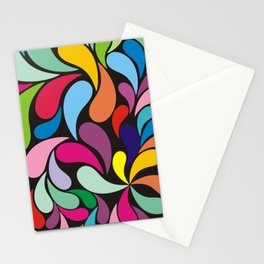 Rainbow colorful paisely on black Stationery Cards