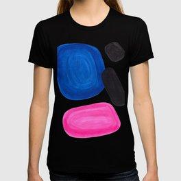 Colorful Minimalist Pop Art Mid Century Modern Style Rose Magenta Phthalo Blue Bubbles T-shirt