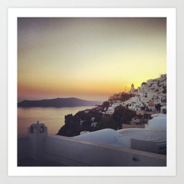 Sunset in Firostefani, Santorini Art Print