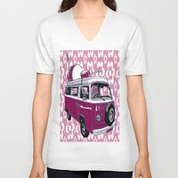 hippy V-neck T-shirts featuring Hippy cat by Graziano Ventroni