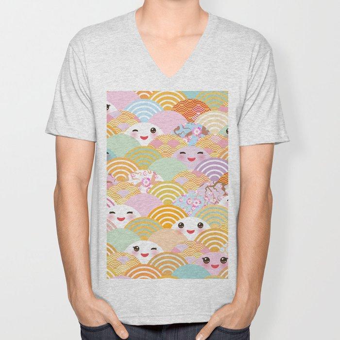 seamless pattern Kawaii with pink cheeks and winking eyes with japanese sakura flower Unisex V-Neck