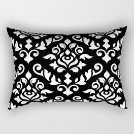Damask Baroque Pattern White on Black Rectangular Pillow