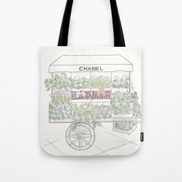 Flower Cart with Cats Black & White Tote Bag