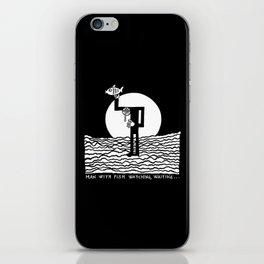 Man with Fish Watching, Waiting... iPhone Skin