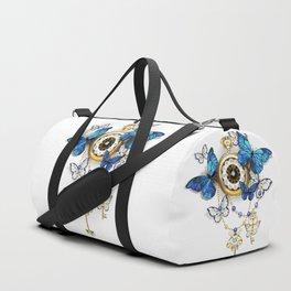 Antique Clock with Butterflies Morpho Duffle Bag