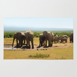 Elephants at the waterhole Rug