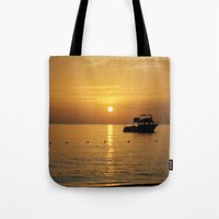jamaica Tote Bags featuring Sunset in Jamaica  by Jason Carnegie