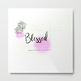 Blessed, Christian Scripture Abstract Art Metal Print