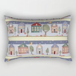 Kids patchwork seamless pattern with houses and trees Rectangular Pillow