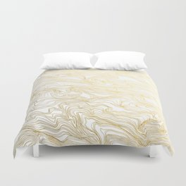 Contours Lines in gold Duvet Cover