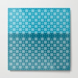 Portuguese Tiles of Lisboa in Blue with Glitch Metal Print