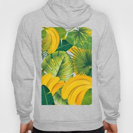 Tropical leaves decor bananas print forest interior palm Hoody