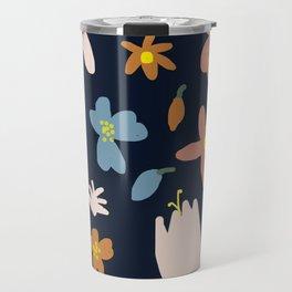 Blooming in the Navy (Handmade Floral Pattern) Travel Mug