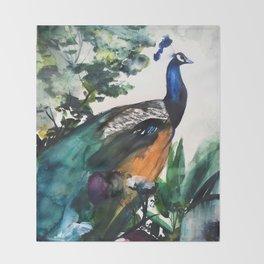 Peacock Garden Throw Blanket