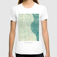 milwaukee T-shirts featuring Milwaukee Map Blue Vintage by City Art Posters