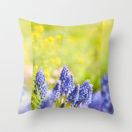 Blue Muscari Mill clump of grapes Throw Pillow