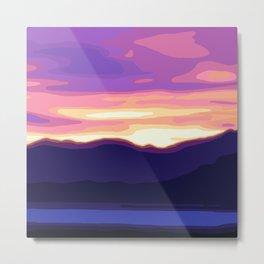Sunset in Death Valley, California - Purple, Pink, Violet, Blue Metal Print