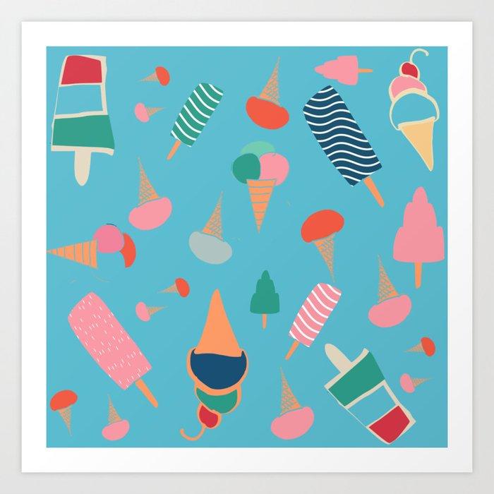Ice Cream Blue Art Print