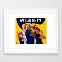 dangan ronpa Framed Art Prints featuring We Can Do It! - Dangan Ronpa by bratwurstTrousers