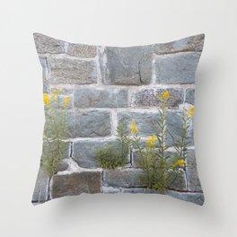 Blooming on Hard Rocks Throw Pillow