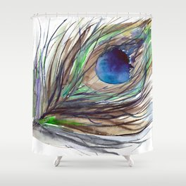 Peacock piece || watercolor Shower Curtain