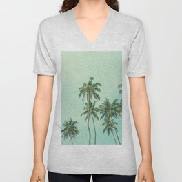 Coconut palm trees on sunny beach vintage filtered Unisex V-Neck