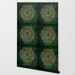 Golden Flower Mandala on Dark Green Wallpaper
