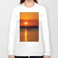 sailboat Long Sleeve T-shirts featuring Sunset Sailboat by Yellow Tie