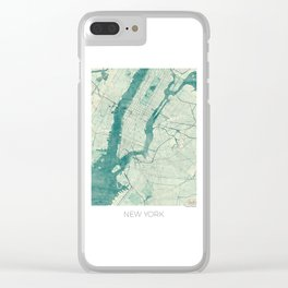 New York Map Blue Vintage Clear iPhone Case