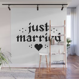 just married couple wedding gift pixel heart Wall Mural