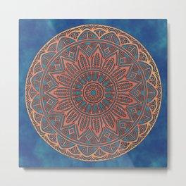 Wooden-Style Mandala Metal Print