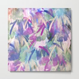 Pastel Floral Extravaganza Abstract Metal Print