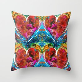 Colorful Heart Art - Everlasting - By Sharon Cummings Throw Pillow