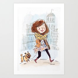 Walk in Quebec city with Marty Woof-Woof Art Print