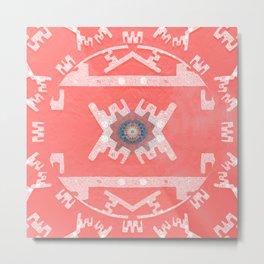 Coral Peach Aztec Boho Mandala Metal Print