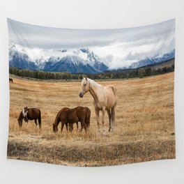 Mountain Horse - Western Style in the Grand Tetons Wall Tapestry