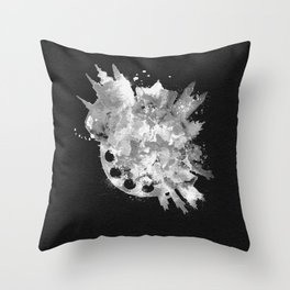 Prague, Czech Republic Black and White Skyround / Skyline Watercolor Painting (Inverted Version) Throw Pillow