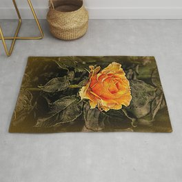 Orange Rose in oils Rug